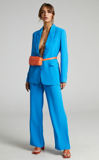 Bonnie Tailored Wide Leg Pants in Blue