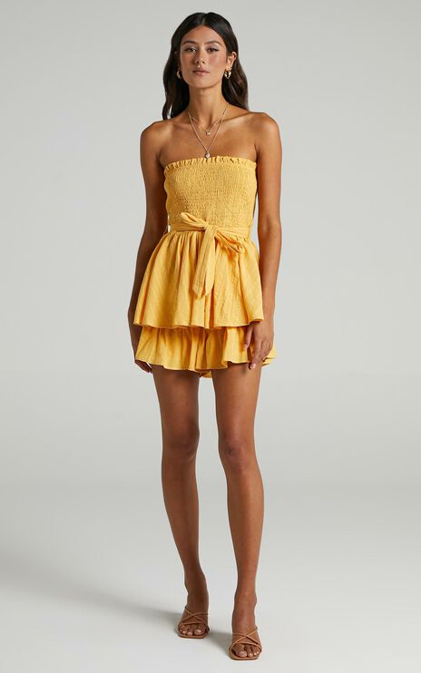 Mutual Love Playsuit in Mustard