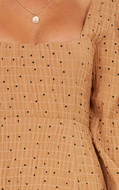 Tricking Minds Dress in mocha spot - 20 (XXXXL), Mocha, hi-res image number null