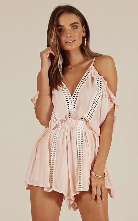 When I Think Of You Playsuit In Blush