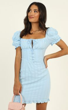 My Oh My Tie Front Mini Dress In Blue