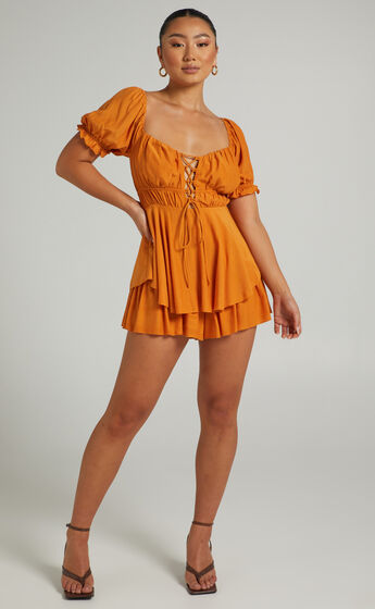 Carmeline Playsuit in Orange