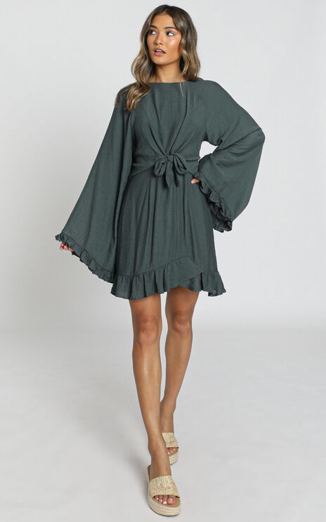 Ophelia Tie Front Dress in Olive