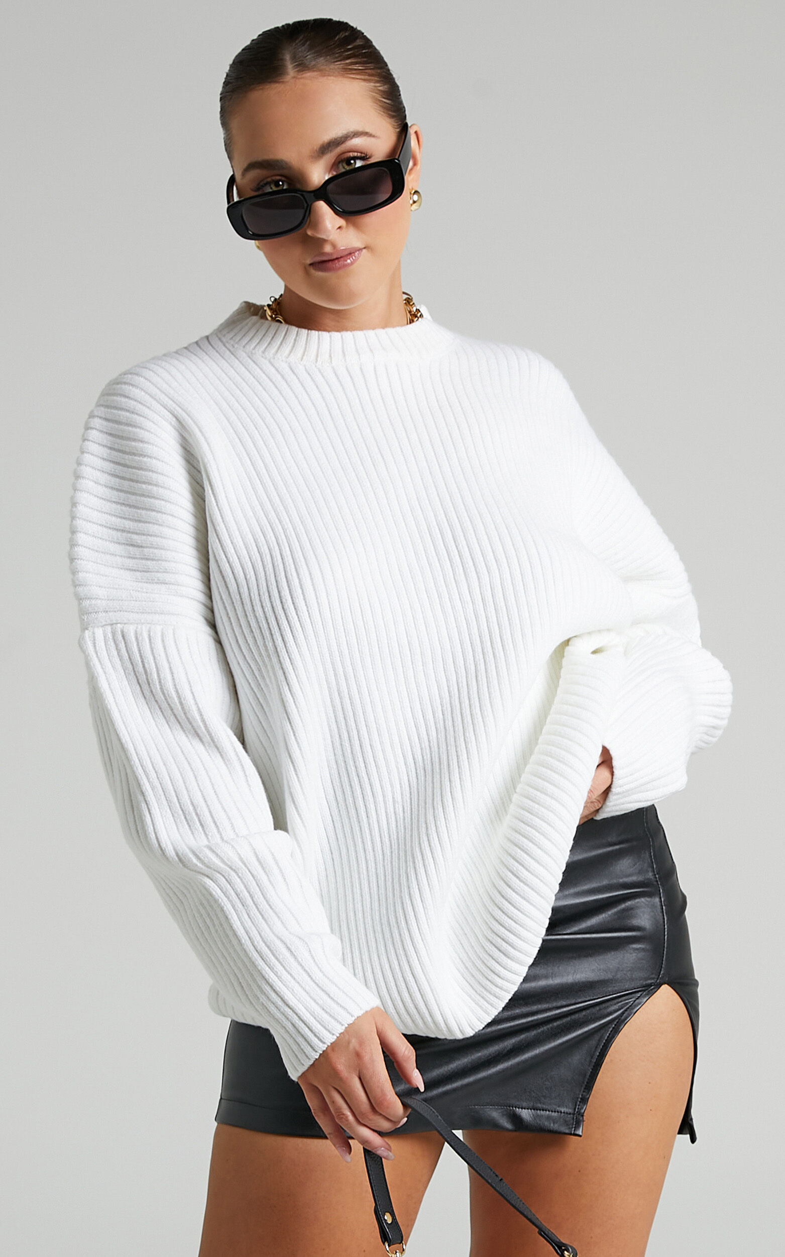 Julietta Back Cut Out Knit Jumper in White - 06, WHT1, super-hi-res image number null