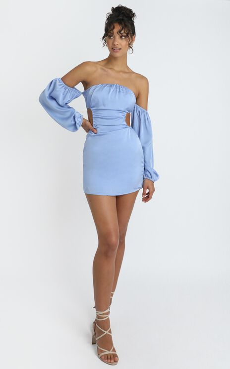 Caitlyn Mini Dress in Blue Satin