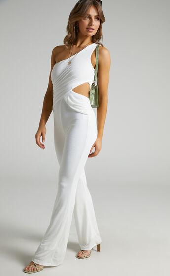 Aurella One Shoulder Full Length Jumpsuit in White