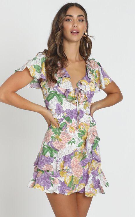 Violet Mini Dress In Purple Floral