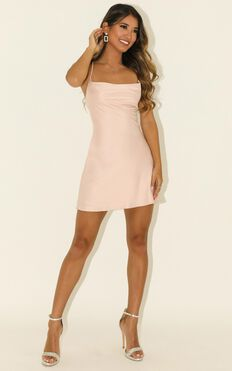 Before Your Time Dress In Blush Satin