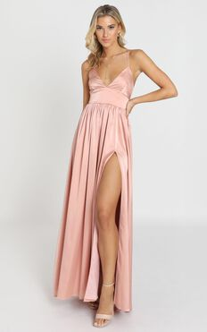 I Want The World To Know Dress In Rose Satin