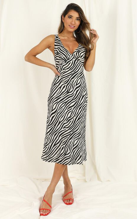 Find Your Feet Dress In Zebra Stripe