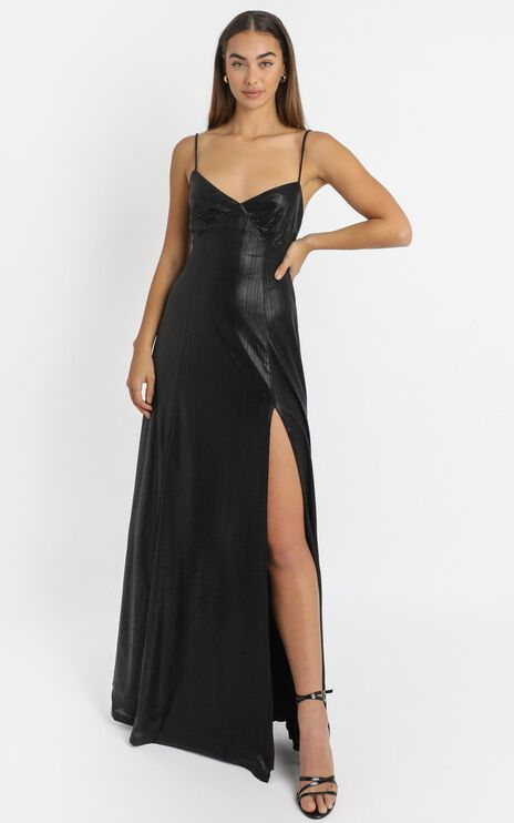 Kate Strappy Maxi Dress in Black Metallic