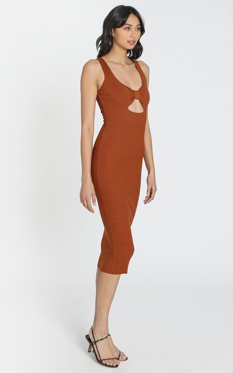 Laia Knit Rib Dress in Chocolate