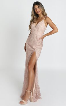 Adeline Maxi Dress In Blush Glitter