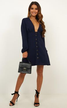 On A Wave Dress In Navy Chiffon Check