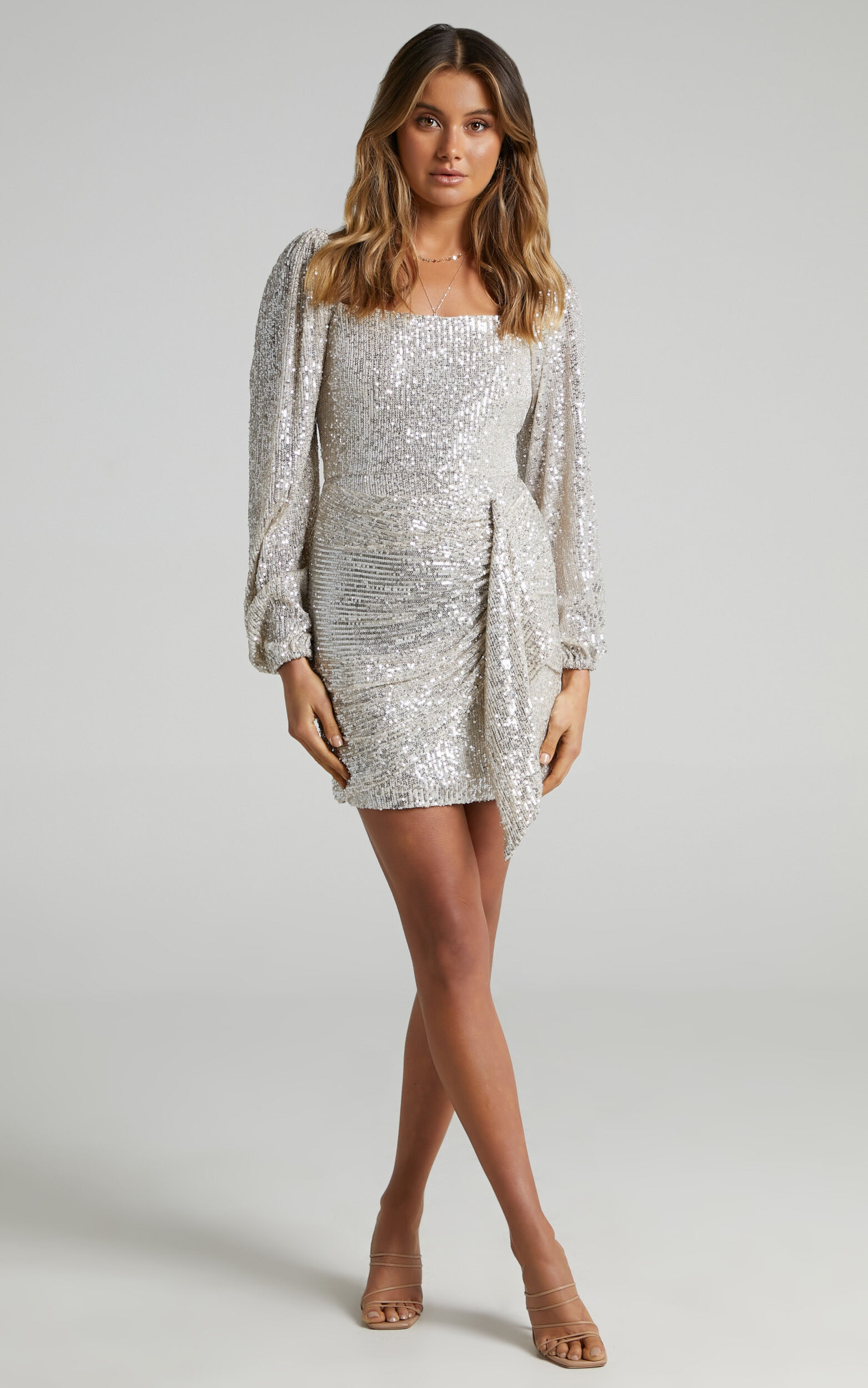 Harmony Longsleeve Drape Mini Dress in Champagne Sequin - 06, GLD1, super-hi-res image number null