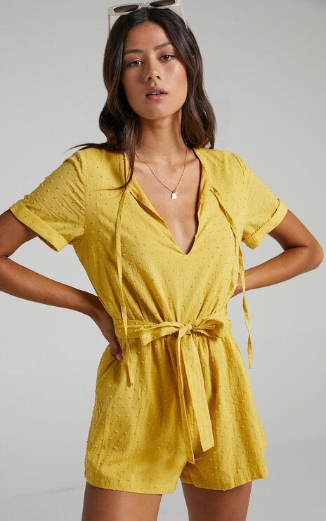Northern Sun Playsuit In Mustard Dobby