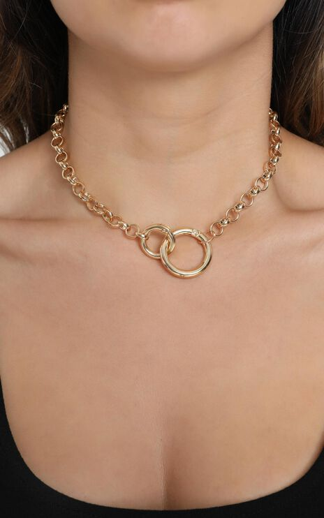 Big Launch Double Loop Necklace in Gold
