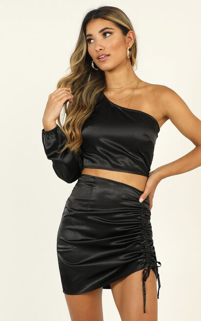 Steal The Room Two Piece Set In black satin - 20 (XXXXL), Black, hi-res image number null