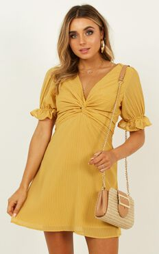 Crazy Love Dress In Mustard Stripe