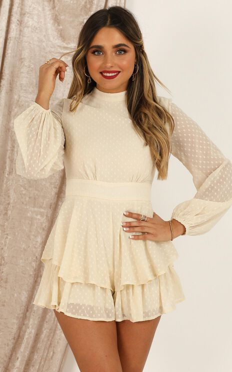 Bottom Of Your Heart Playsuit In Cream