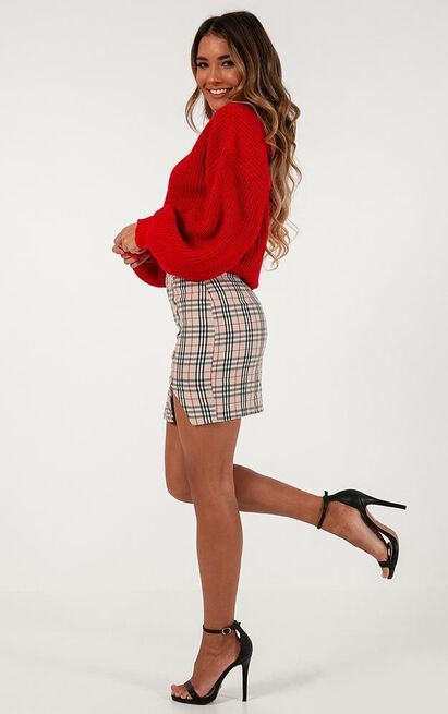 Cancelled Plans Skirt in beige check - 18 (XXXL), Beige, hi-res image number null