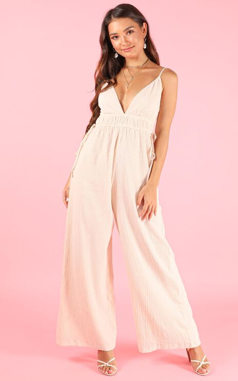 Meeting You There Jumpsuit In  Cream Linen Look