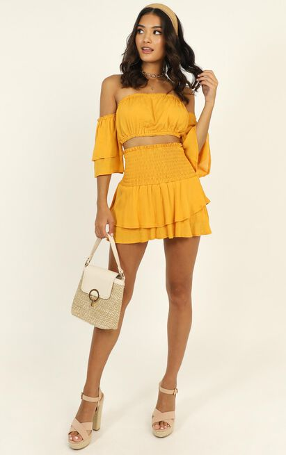Double Tap Shirred Two Piece Set in mustard - 12 (L), Mustard, hi-res image number null