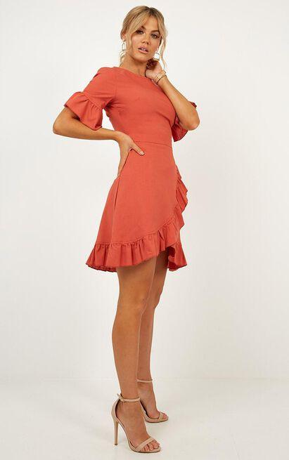 Unproductive Days Dress In Rust Linen Look - 6 (XS), Rust, hi-res image number null
