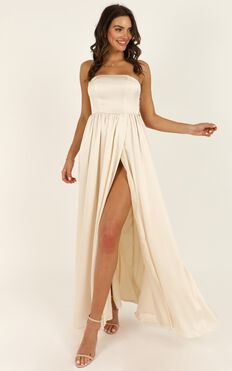 Permission To Love Dress In Champagne Satin