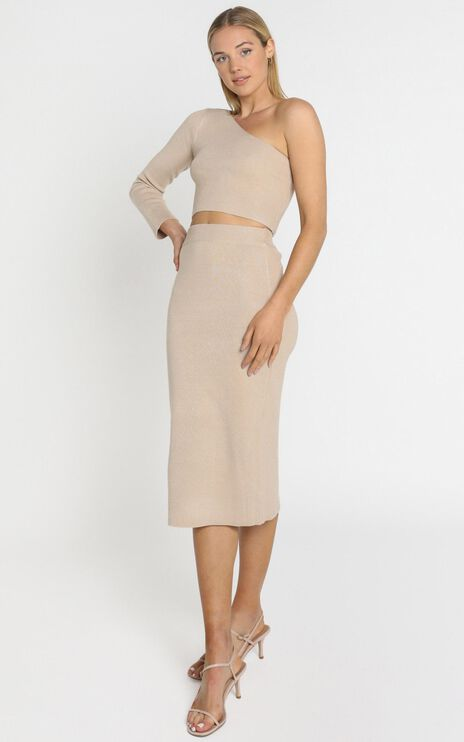 Walker Knit Skirt in Beige