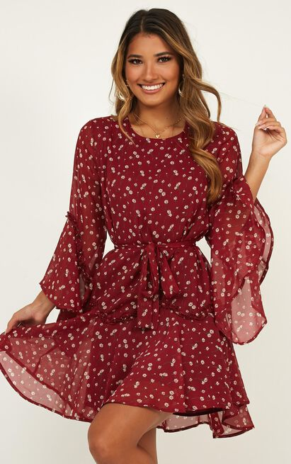 So Whats Next Dress In Wine Floral - 4 (XXS), Wine, hi-res image number null