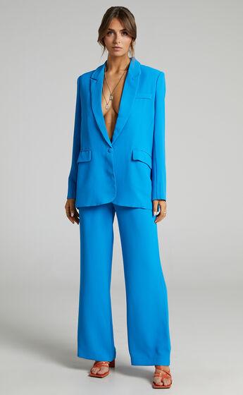 Michelle oversized plunge neckline Button Up Blazer in Blue