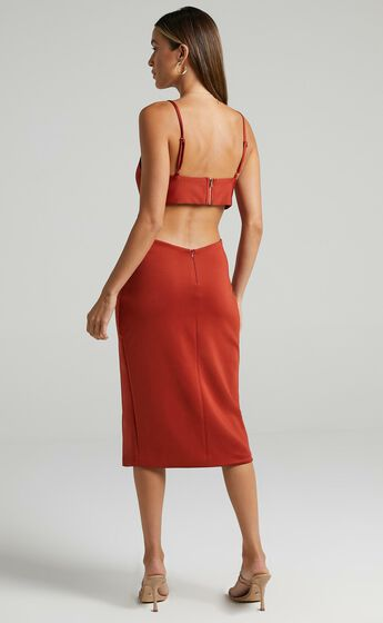 Odette Open Back Midi Dress in Rust