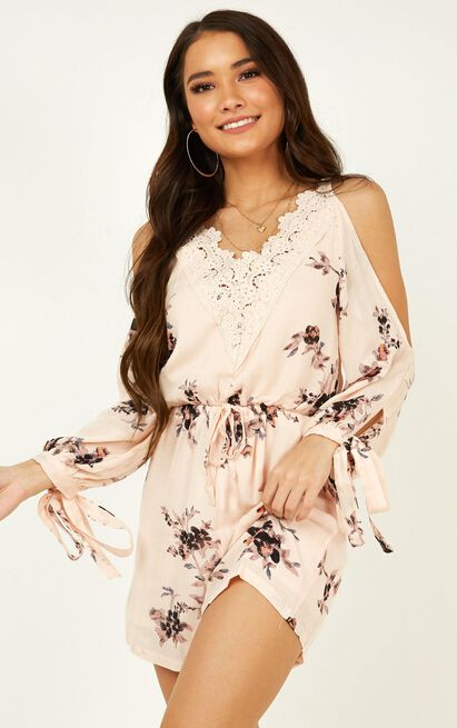 Love Always playsuit in blush floral - 12 (L), Blush, hi-res image number null