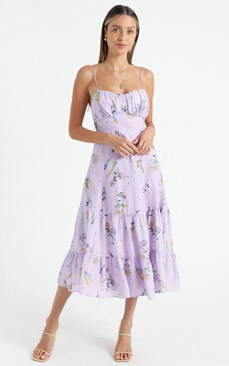 Monaco Dress in Lavender Botanical Floral