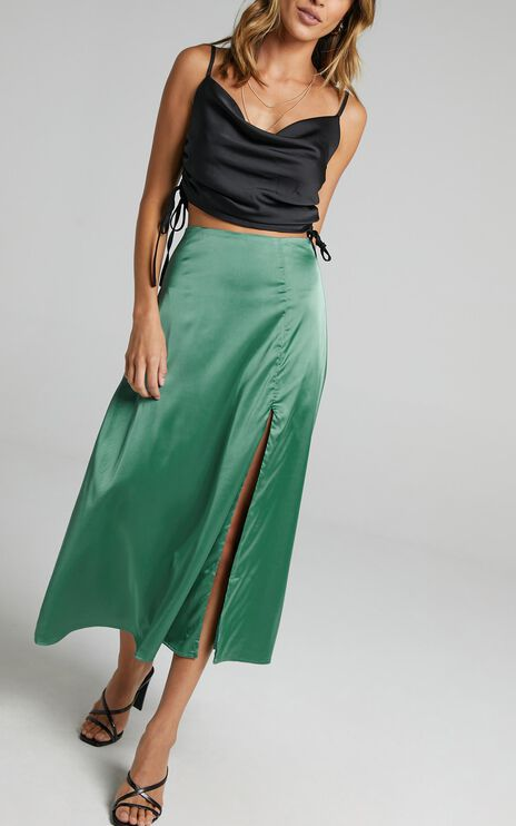 Rania Skirt in Jade Satin