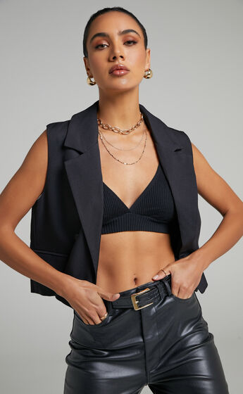 Sera Button up Waistcoat in Black