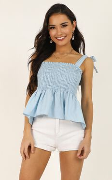 Perfectly Wrong Top In Powder Blue Linen Look