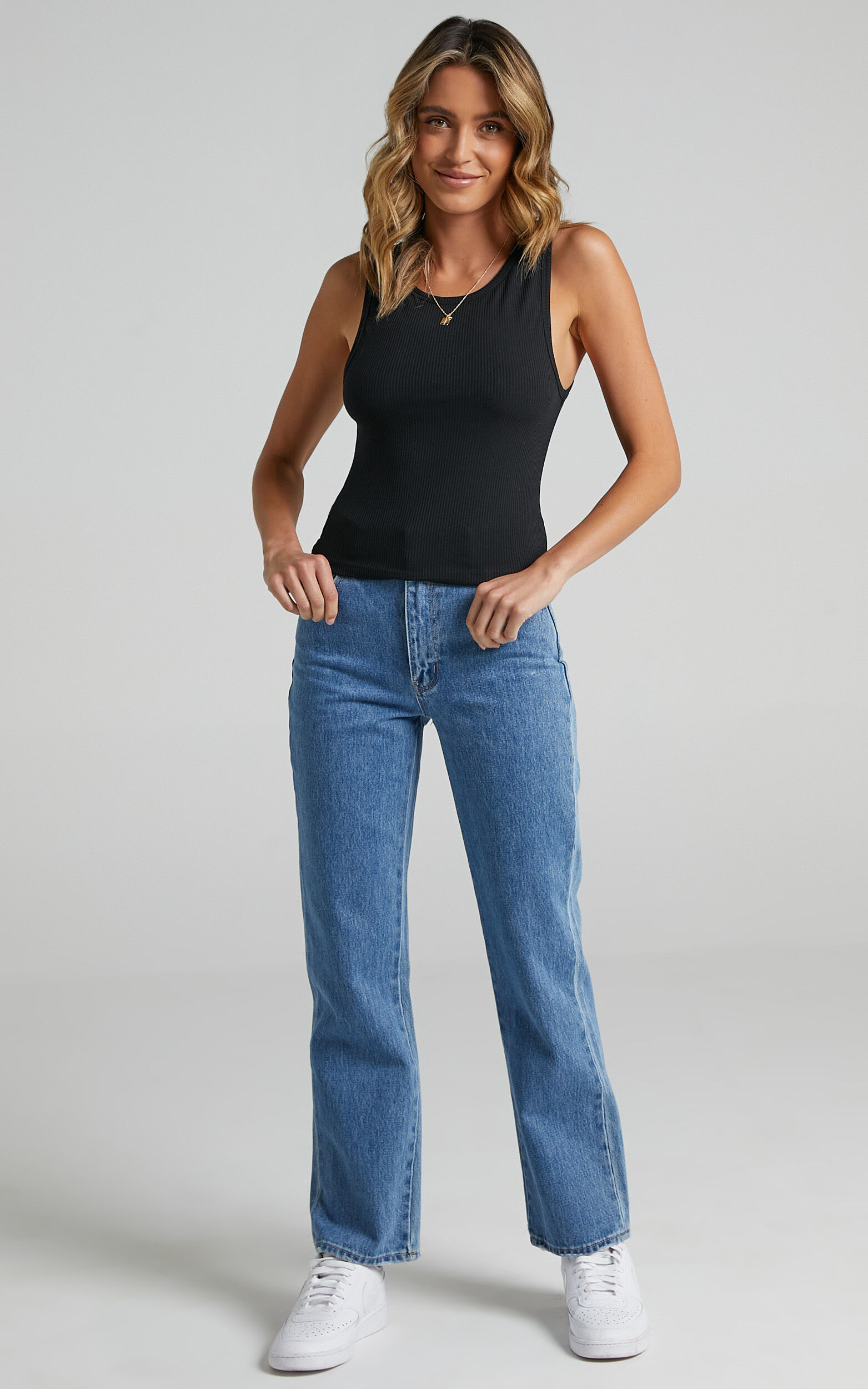 Cant You Tell Ribbed Tank Top in Black - 20, BLK1, super-hi-res image number null