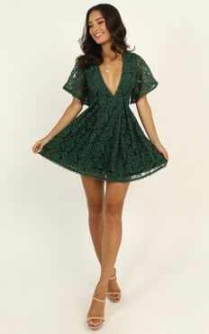 Do You Miss Me Dress In Emerald Lace