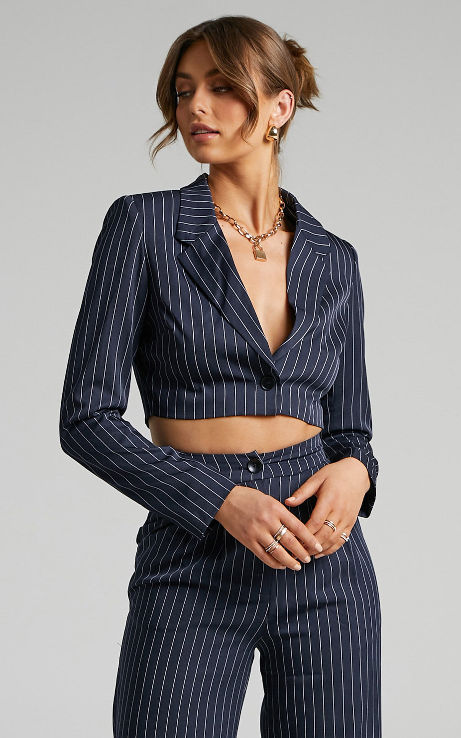 Slone Button UP Blazer in Navy Pinstripe - 06, NVY1, super-hi-res image number null