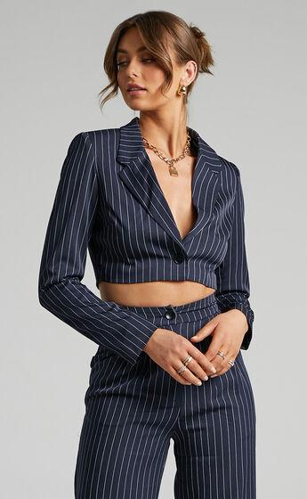 Slone Button UP Blazer in Navy Pinstripe
