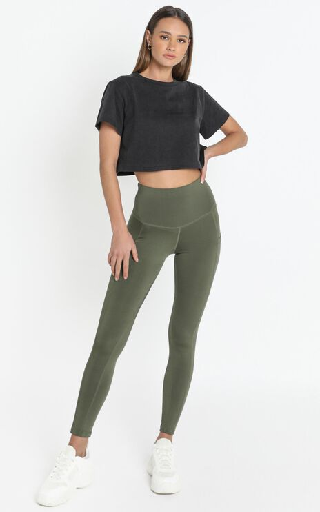 Evelyn High Waisted Activewear Tights with Side Pockets in Khaki