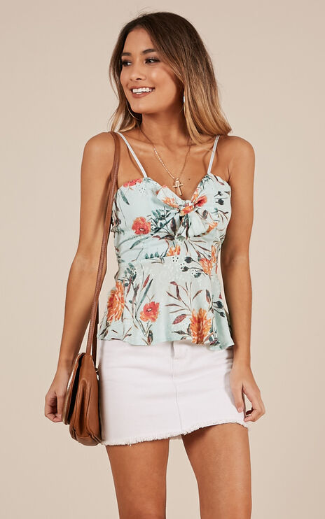 All Things Pass Top In Blue Floral