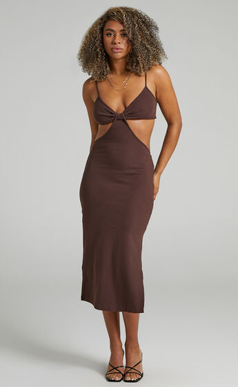 Britter Midi Dress in Chocolate