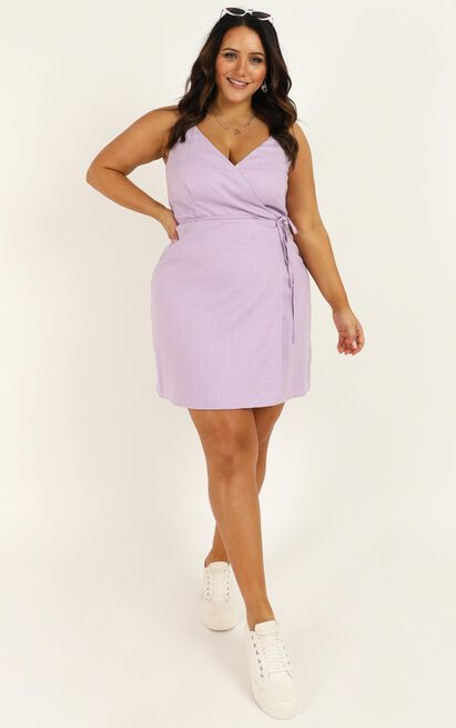 Whisper It dress in  lilac linen look - 20 (XXXXL), Purple, hi-res image number null