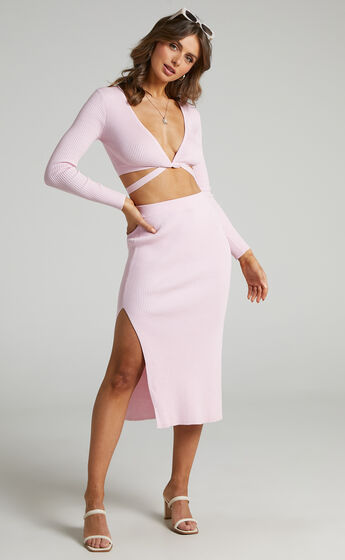 Tana Two Piece Knit Set with Knot Front in Ice Pink