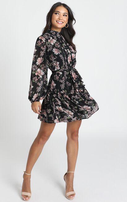Aurora Mini Dress in black floral - 14 (XL), Black, hi-res image number null
