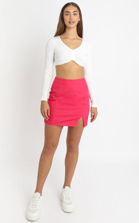 International Babe Skirt in Hot Pink Linen Look