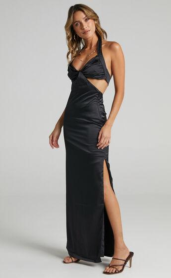 Maat Dress in Black Satin